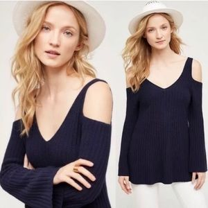 Knitted Knotted Navy Cold Shoulder Sweater Small